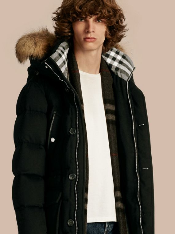 Down-filled Cashmere Parka with Detachable Fur Trim Black