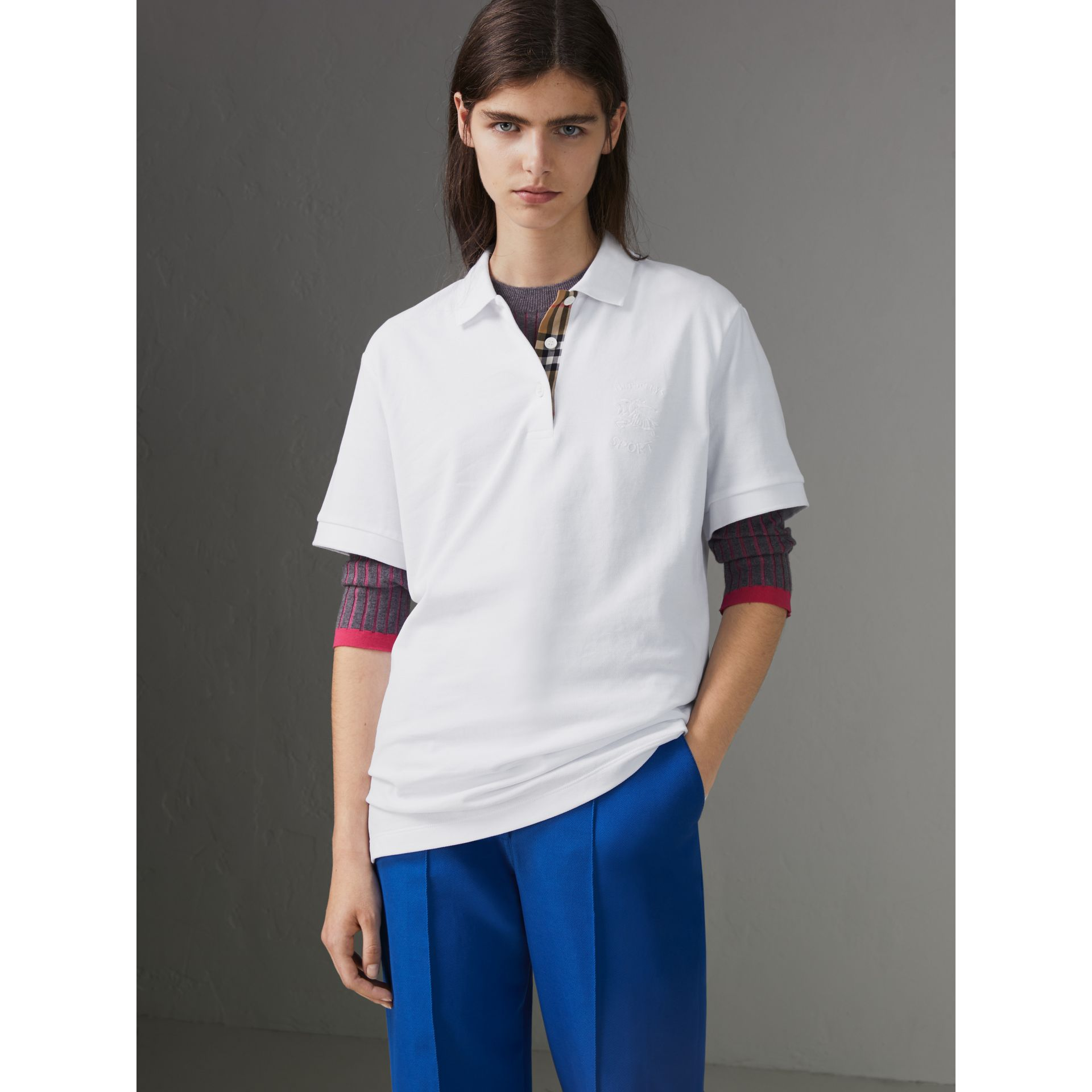 Check Placket Cotton Piqué Polo Shirt in White - Women | Burberry - gallery image 4