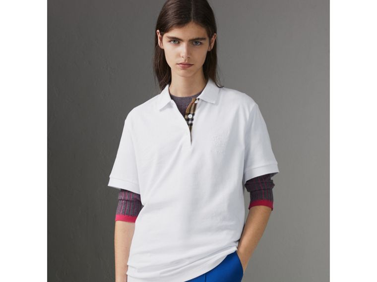 Check Placket Cotton Piqué Polo Shirt in White - Women | Burberry - cell image 4
