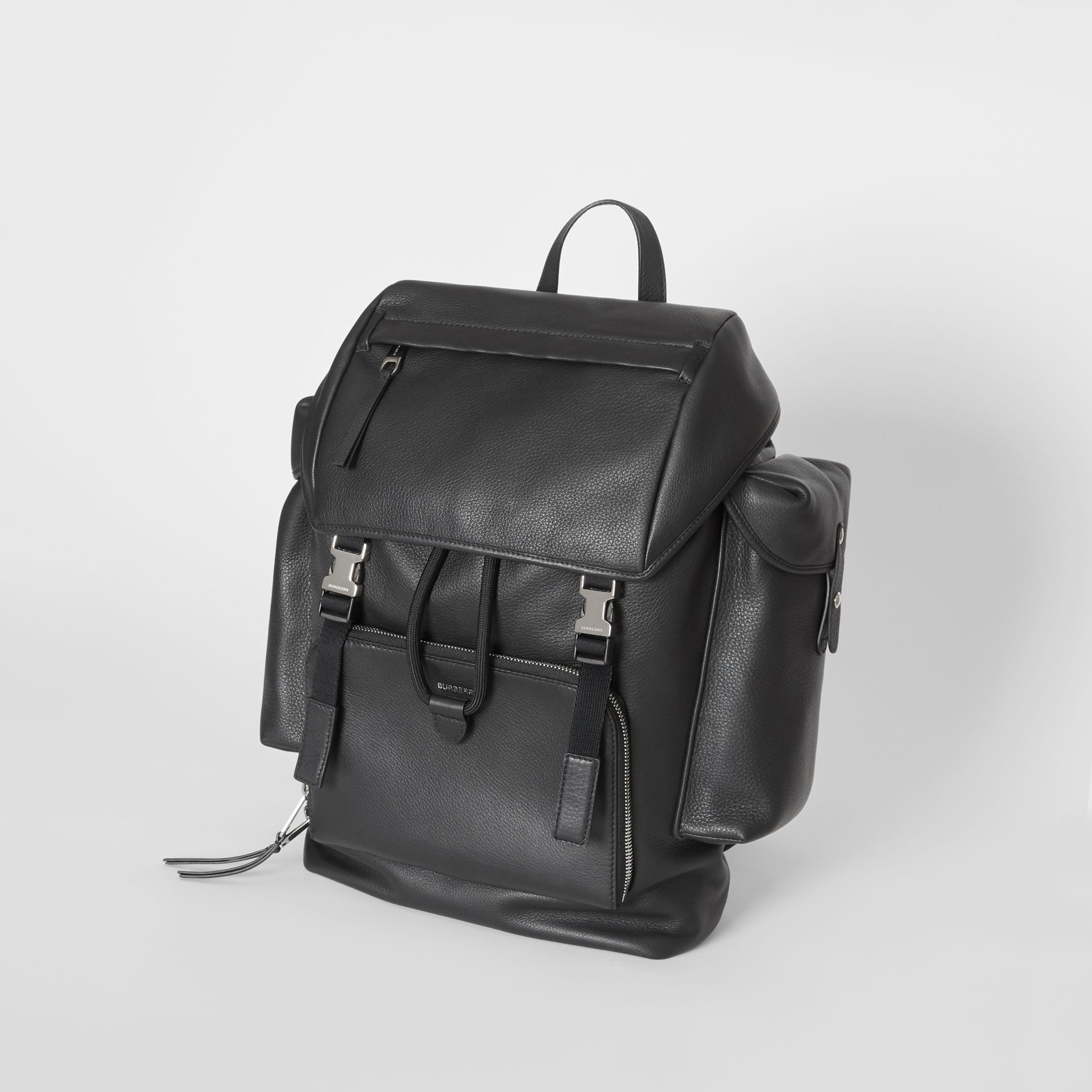 Grainy Leather Backpack in Black - Men | Burberry - gallery image 2