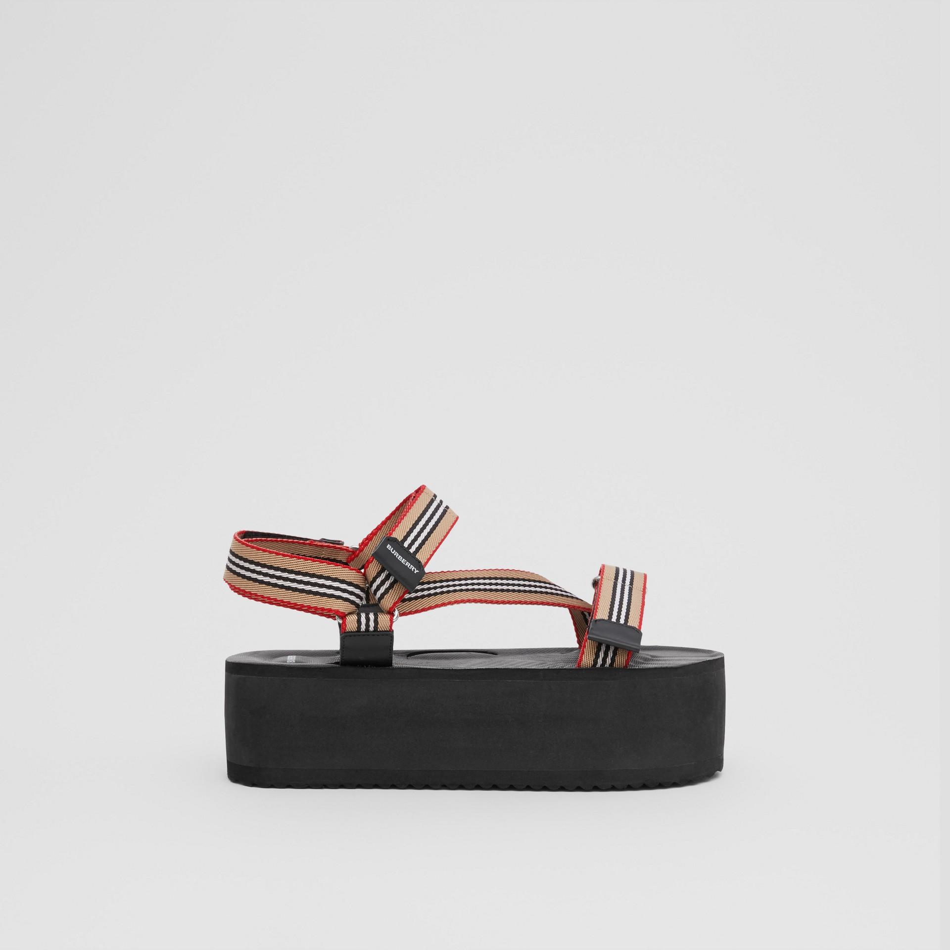 Icon Stripe Sandals in Archive Beige - Women | Burberry United Kingdom - gallery image 4