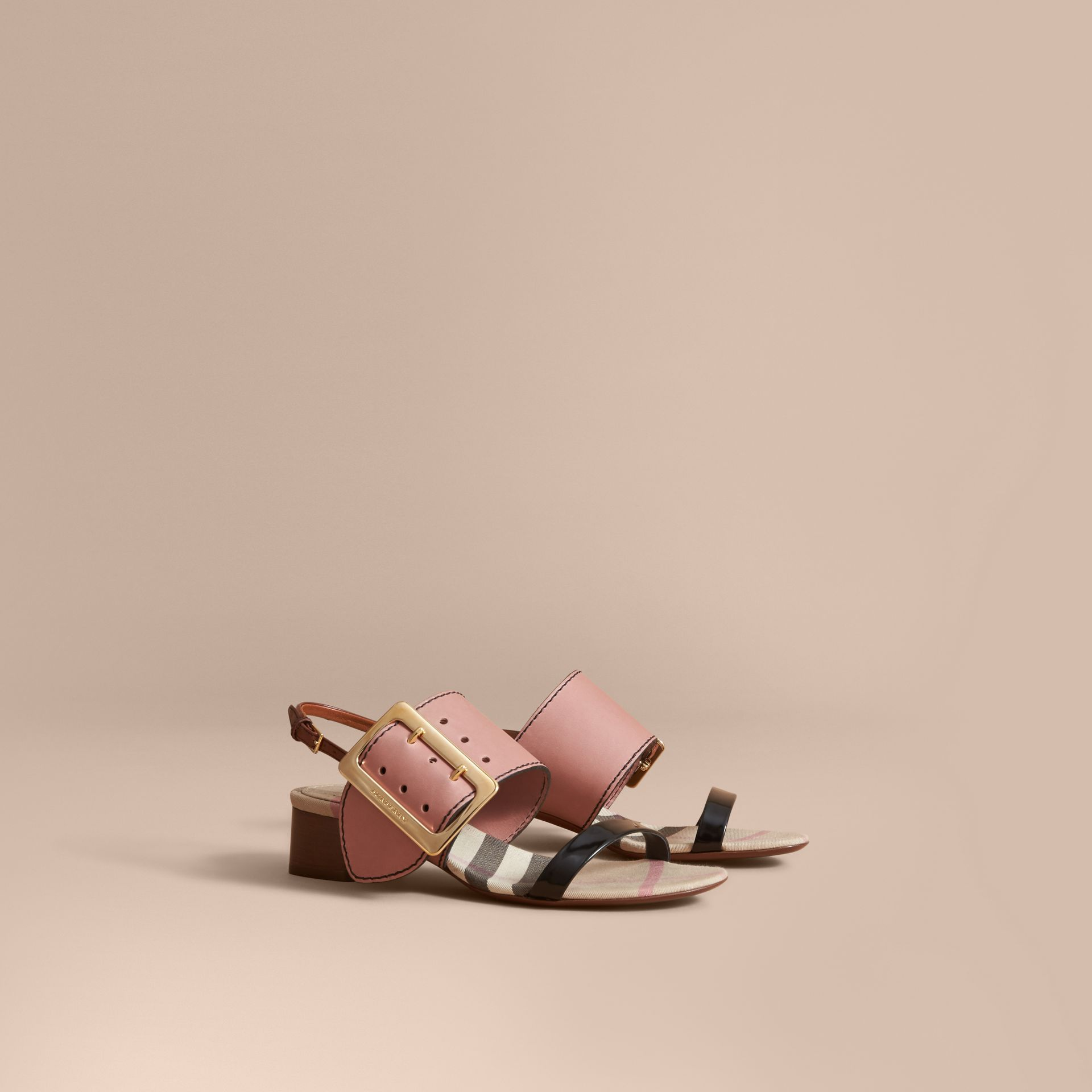 Buckle Detail Colour Block Leather Sandals in Nude Pink | Burberry - gallery image 0