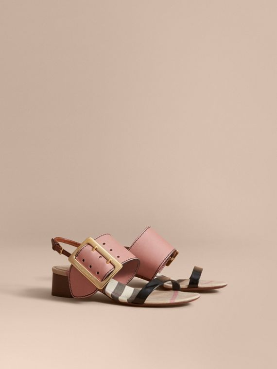 Buckle Detail Colour Block Leather Sandals in Nude Pink