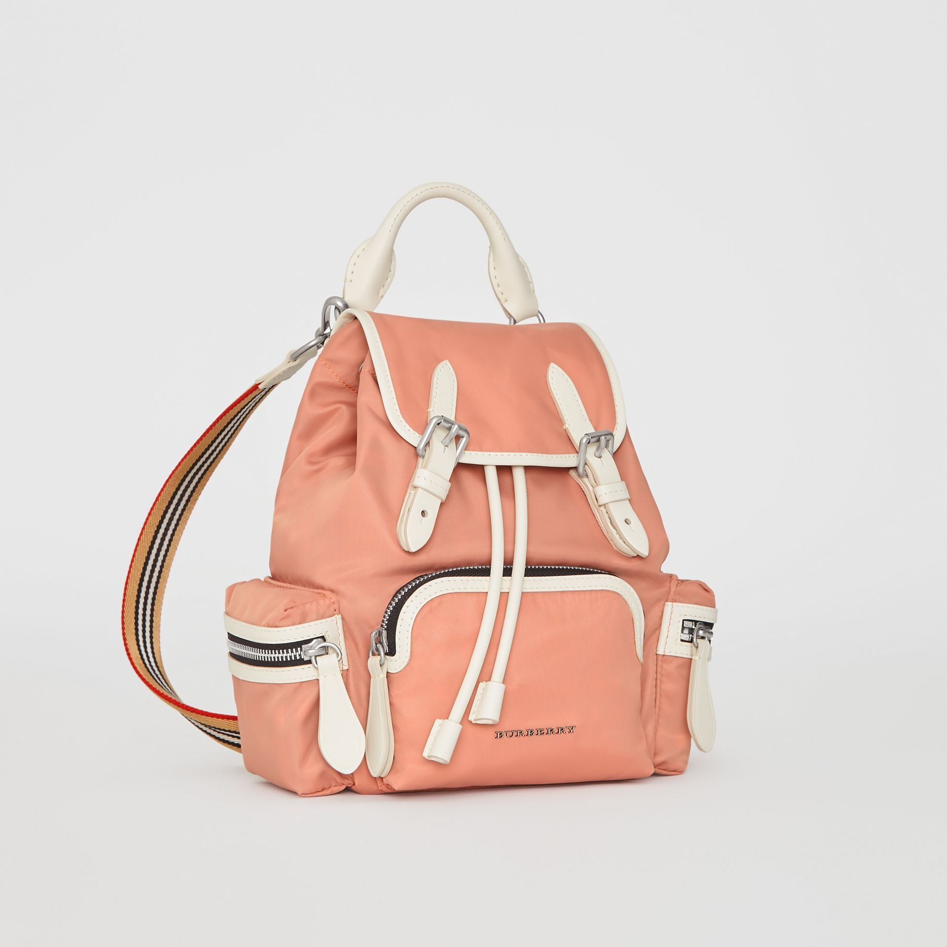 The Small Crossbody Rucksack in Nylon in Powder Pink - Women | Burberry United Kingdom - gallery image 7