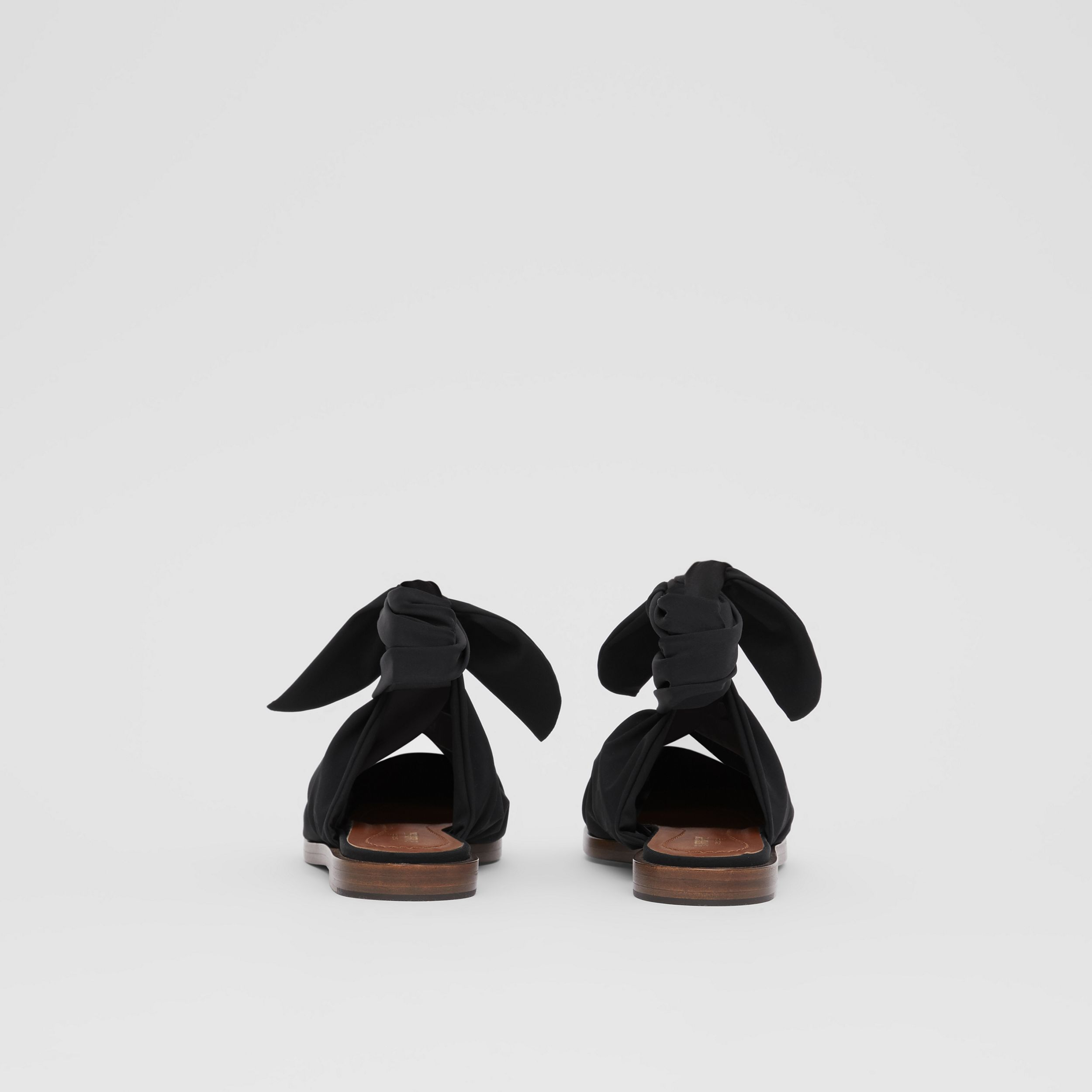 Scarf Tie Detail Leather Point-toe Mules in Black - Women | Burberry - 4