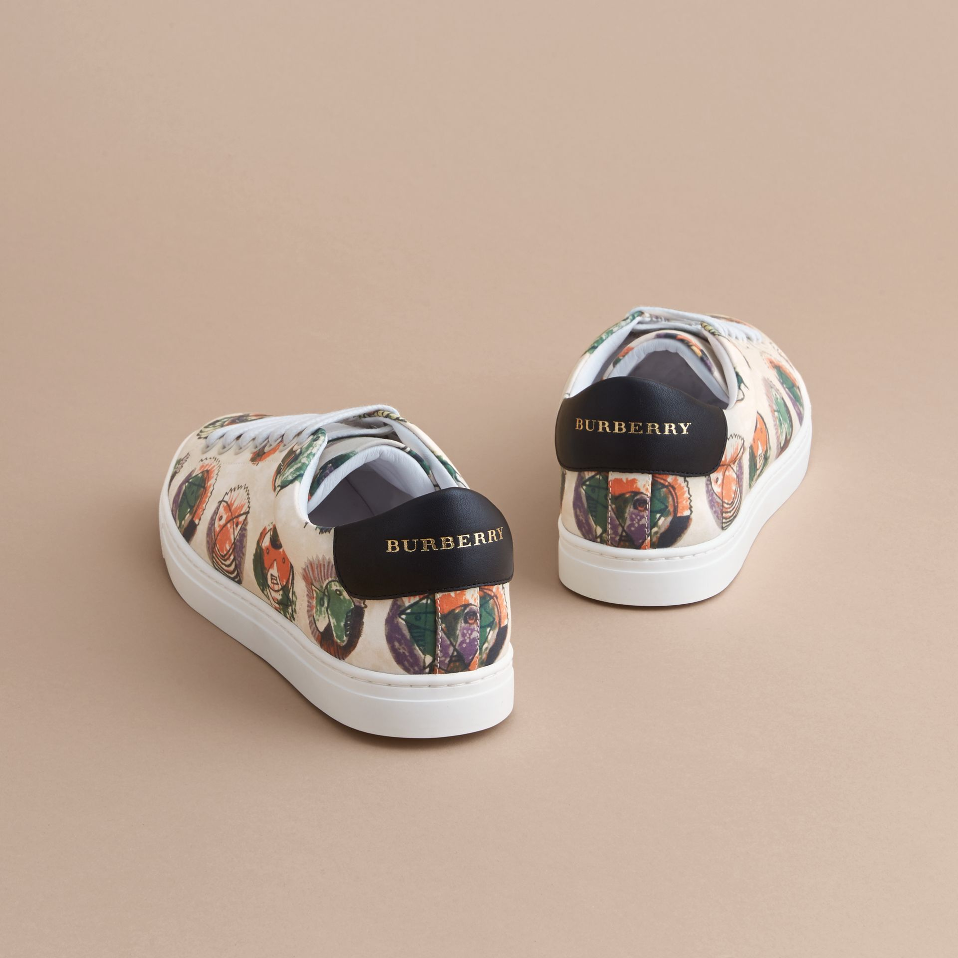 Pallas Heads Print Cotton Leather Trainers in Natural White - Men | Burberry - gallery image 4