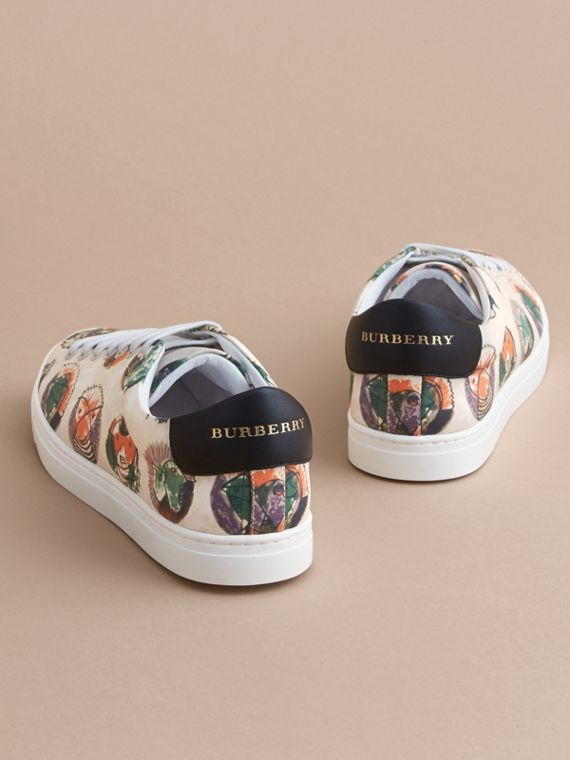 Pallas Heads Print Cotton Leather Trainers in Natural White - Men | Burberry - cell image 3