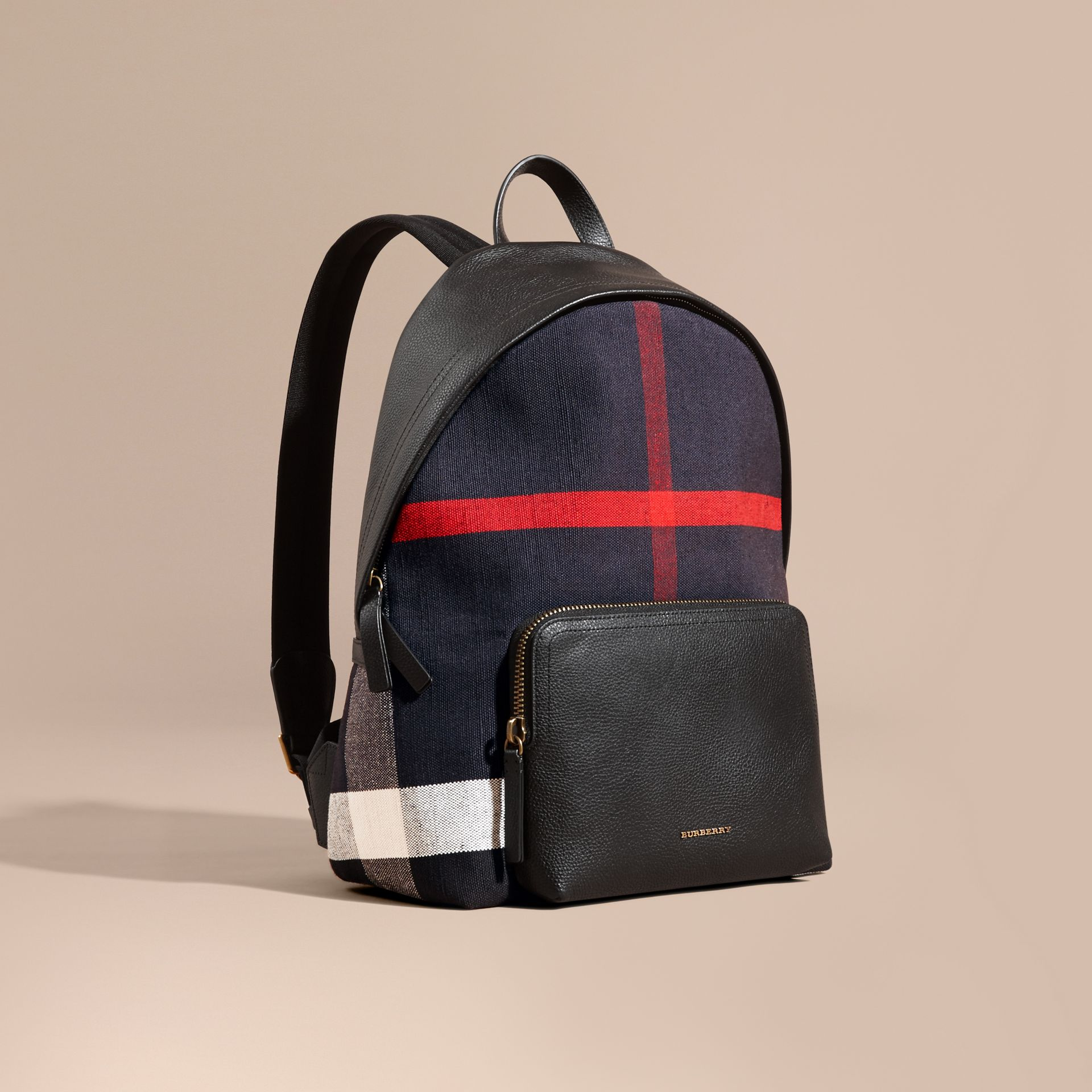 Black Canvas Check and Leather Backpack - gallery image 1
