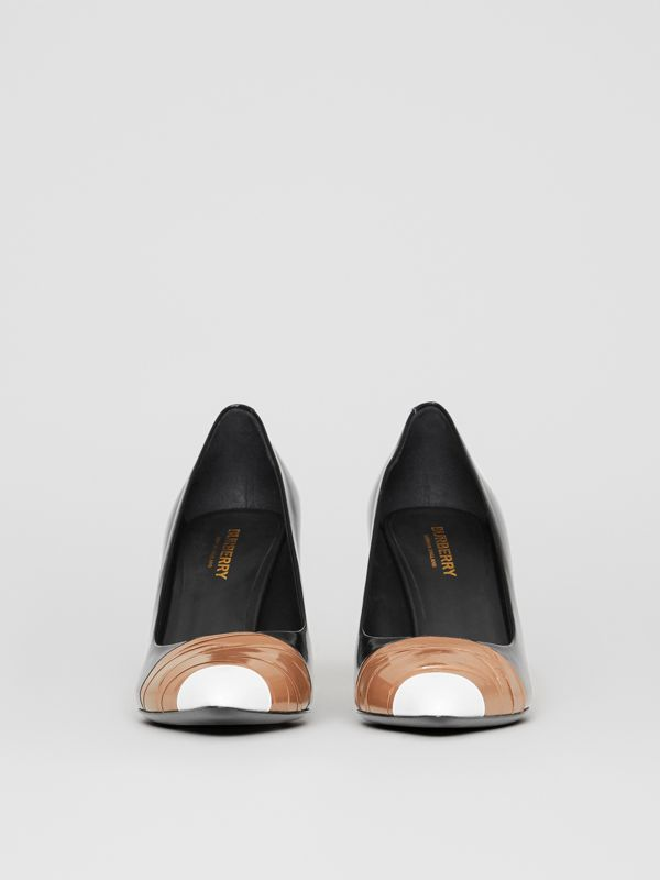 Tape Detail Leather Pumps in Black/optic White - Women | Burberry - cell image 2