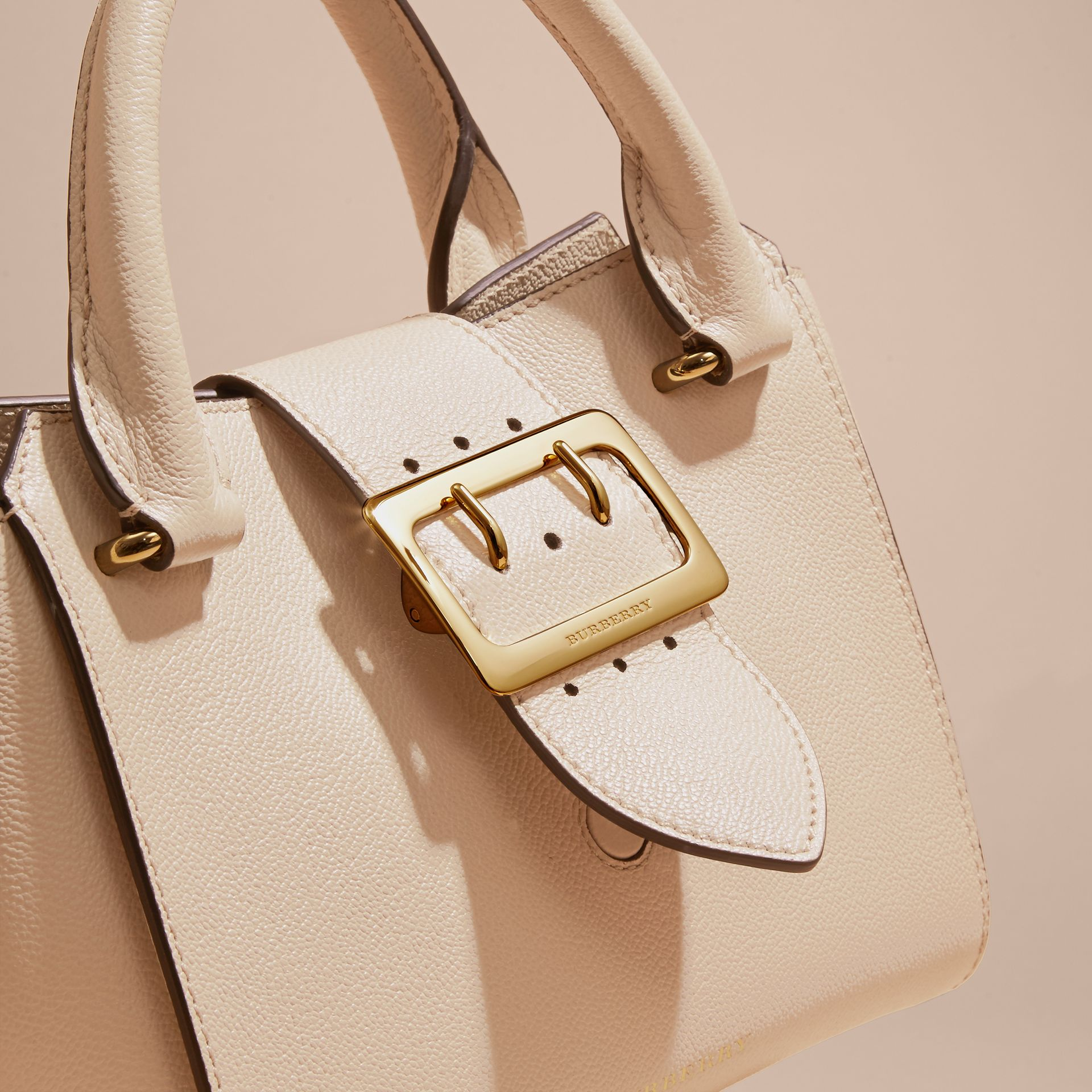 Limestone The Small Buckle Tote in Grainy Leather Limestone - gallery image 2