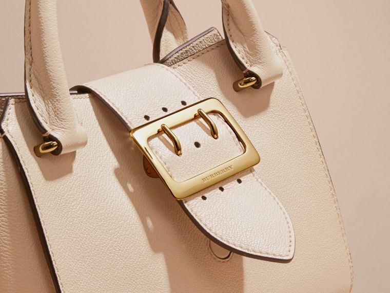 The Small Buckle Tote in Grainy Leather Limestone - cell image 1