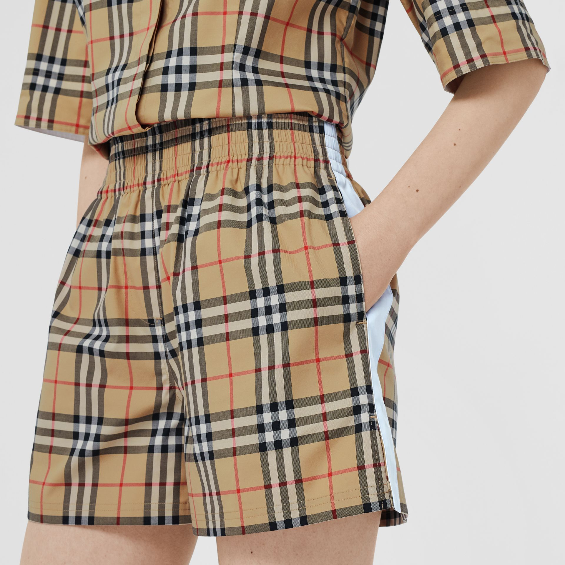Vintage Check Stretch Cotton Shorts in Archive Beige - Women | Burberry United Kingdom - gallery image 1