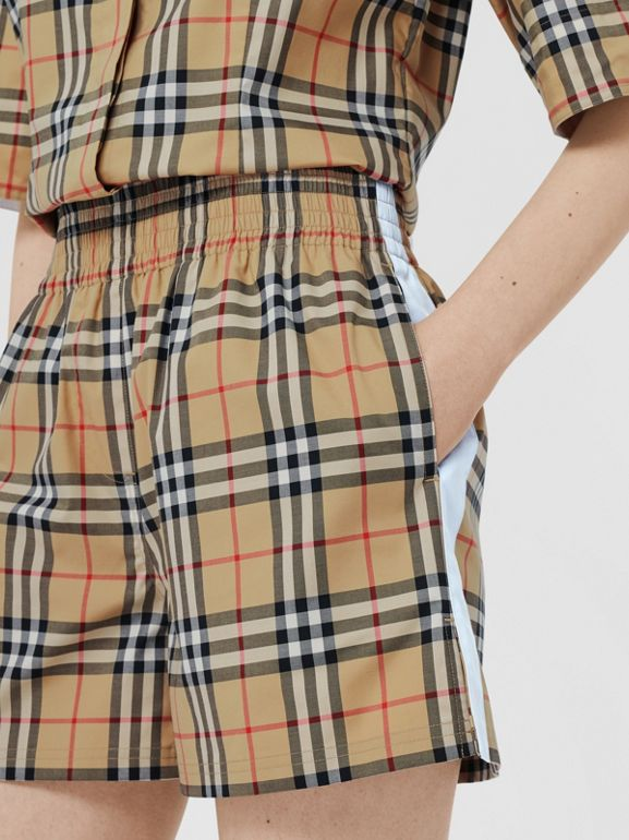 Vintage Check Stretch Cotton Shorts in Archive Beige - Women | Burberry United Kingdom - cell image 1
