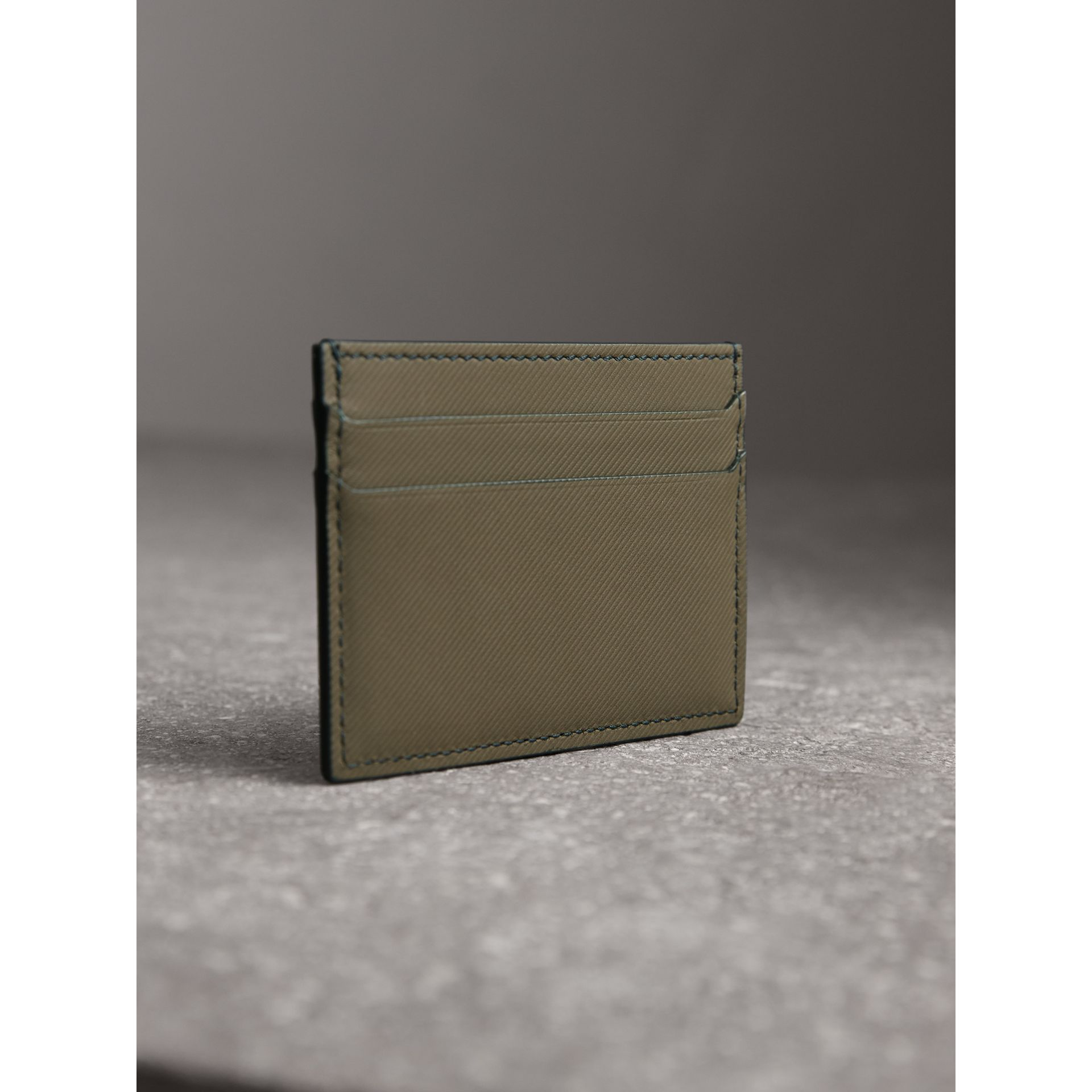 Trench Leather Card Case in Slate Green - Men | Burberry - gallery image 3