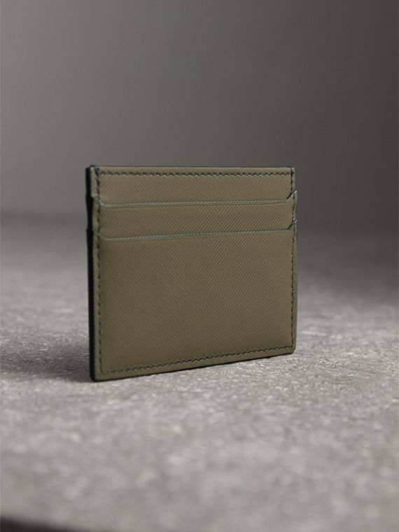 Trench Leather Card Case in Slate Green - Men | Burberry - cell image 2