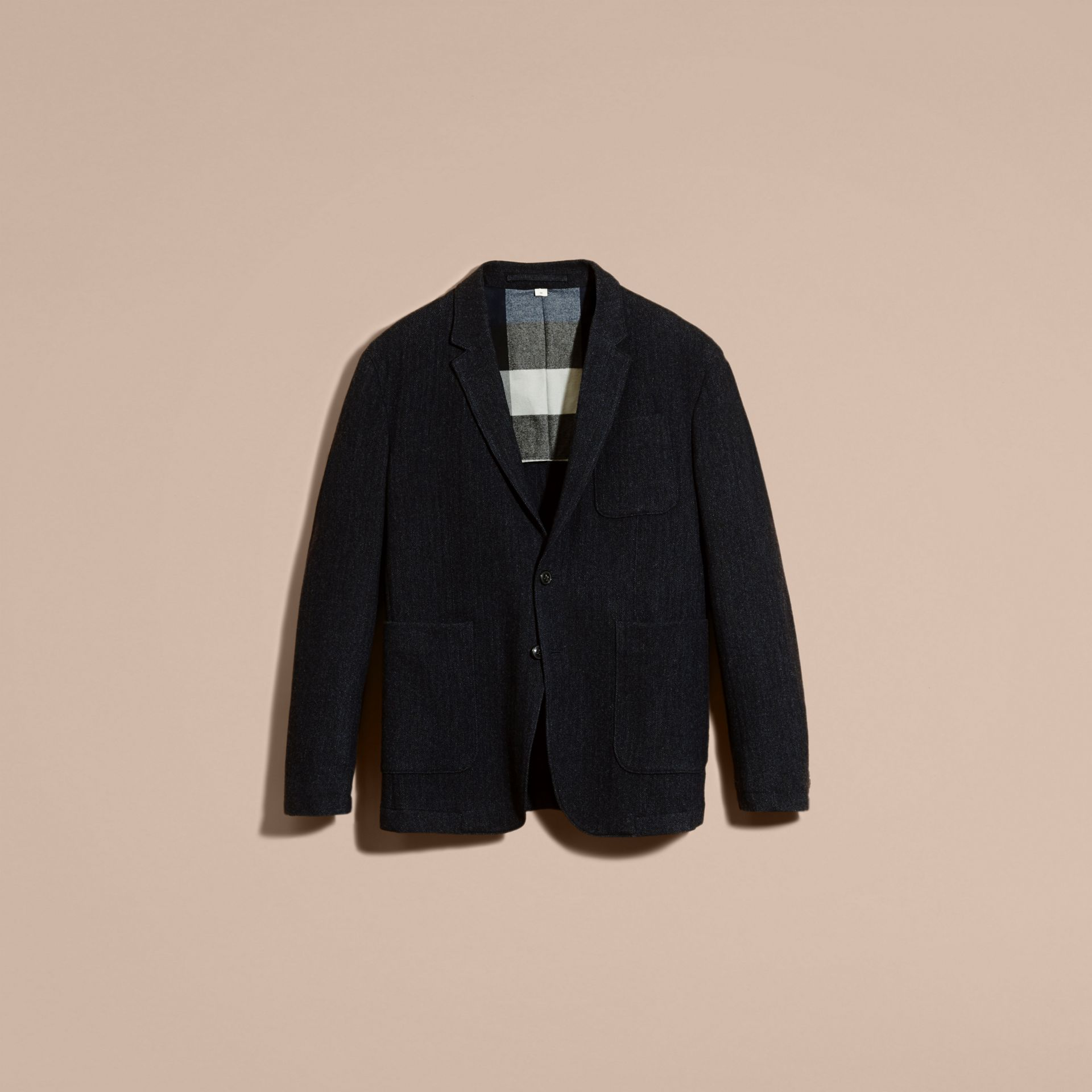 Navy Patch Pocket Wool Tailored Jacket - gallery image 4