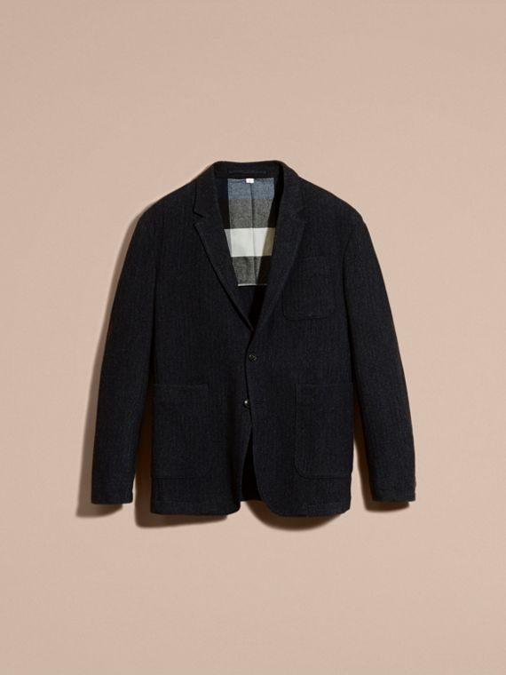 Navy Patch Pocket Wool Tailored Jacket - cell image 3