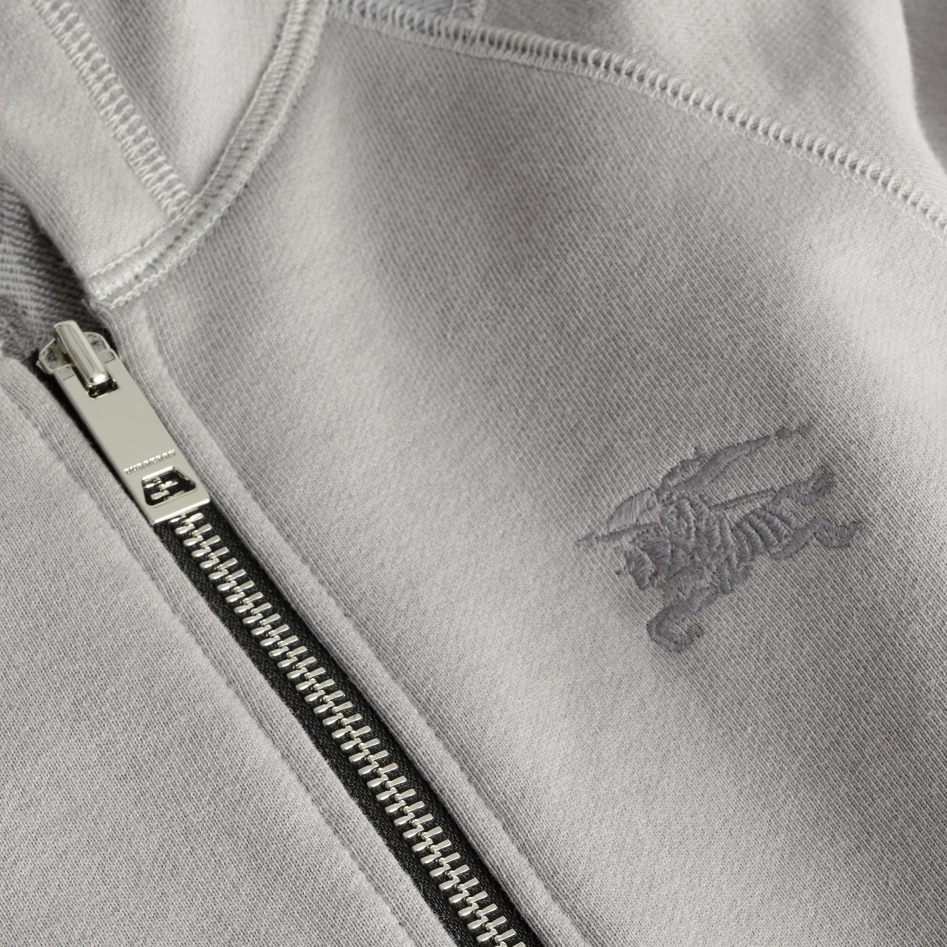 Cotton Jersey Hooded Top in Chalk Grey Melange | Burberry Australia - gallery image 1