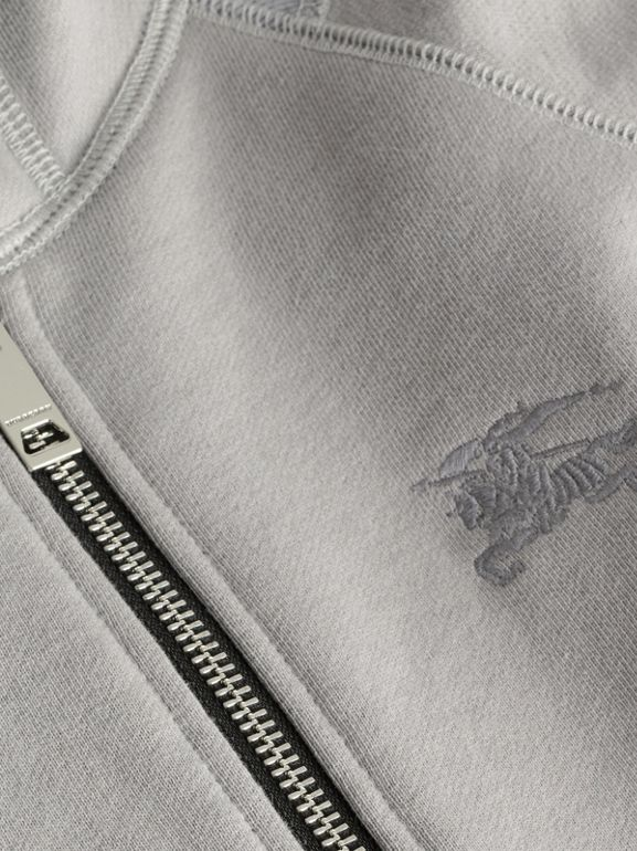 Cotton Jersey Hooded Top in Chalk Grey Melange | Burberry Australia - cell image 1