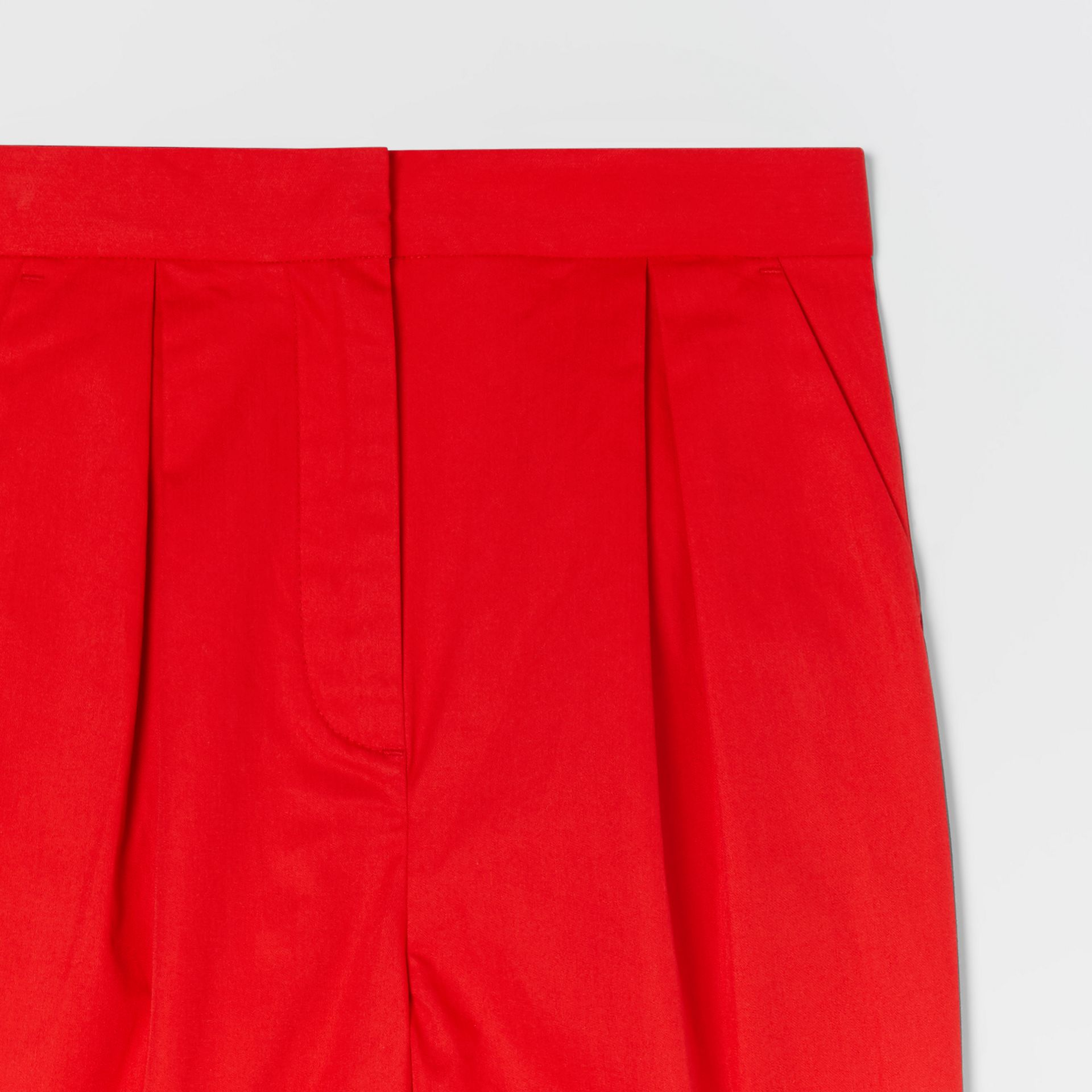 Cotton Twill Tapered Trousers in Bright Red | Burberry - gallery image 4
