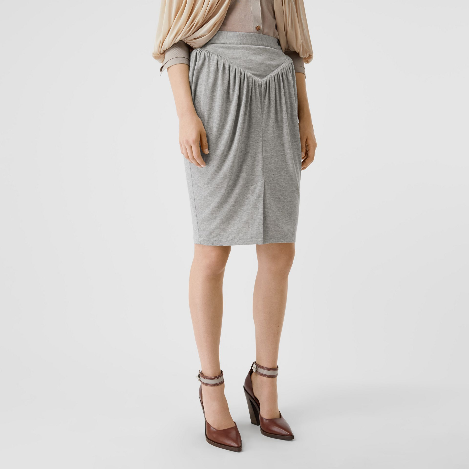 Gathered Jersey Sculptural Skirt in Pewter Melange - Women | Burberry United States - gallery image 4