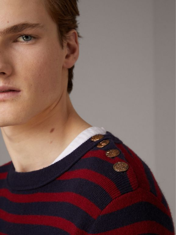 Bird Button Breton Stripe Wool Cashmere Sweater in Navy/deep Claret - Men | Burberry - cell image 1