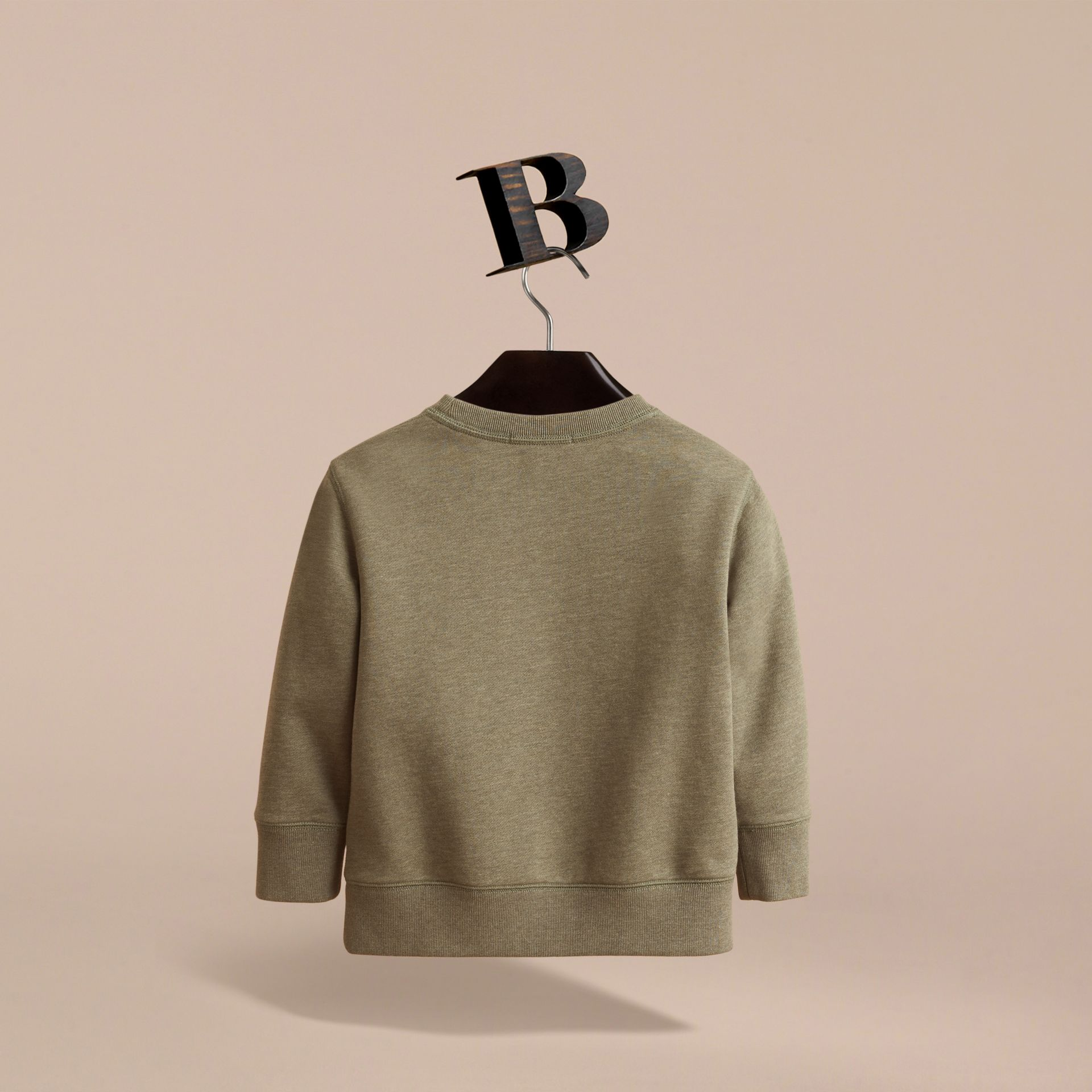Embroidered Cotton Jersey Sweatshirt in Khaki Green Melange | Burberry - gallery image 4