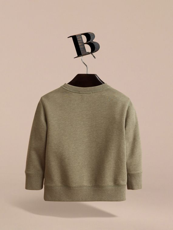 Embroidered Cotton Jersey Sweatshirt in Khaki Green Melange | Burberry - cell image 3