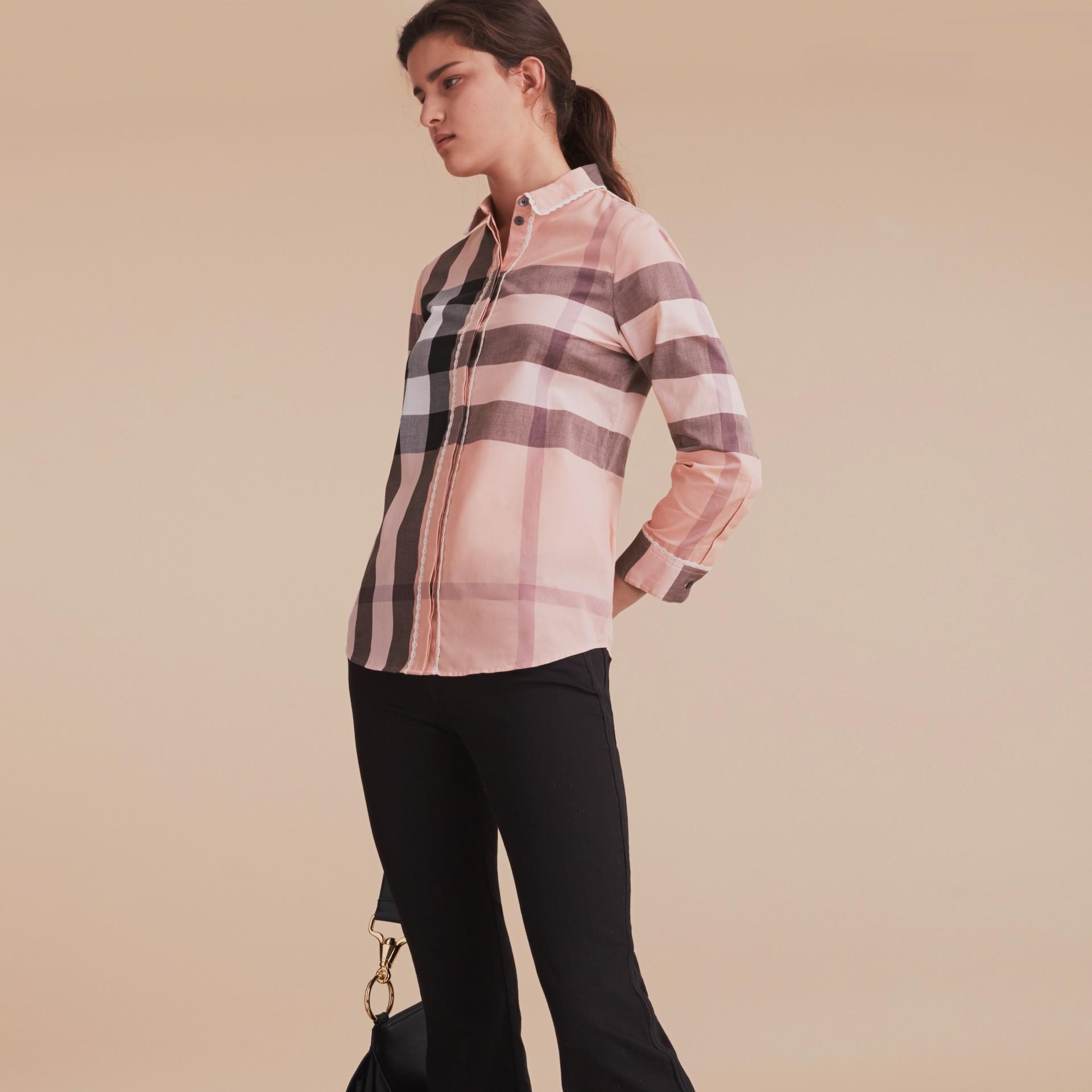 Lace Trim Check Cotton Shirt Antique Pink - gallery image 6
