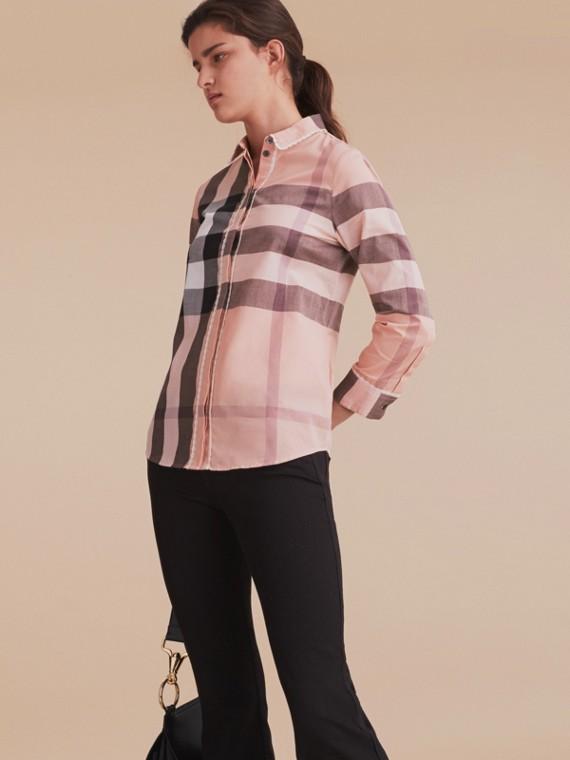 Lace Trim Check Cotton Shirt Antique Pink