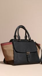 Medium Canvas Check and Leather Tote Bag