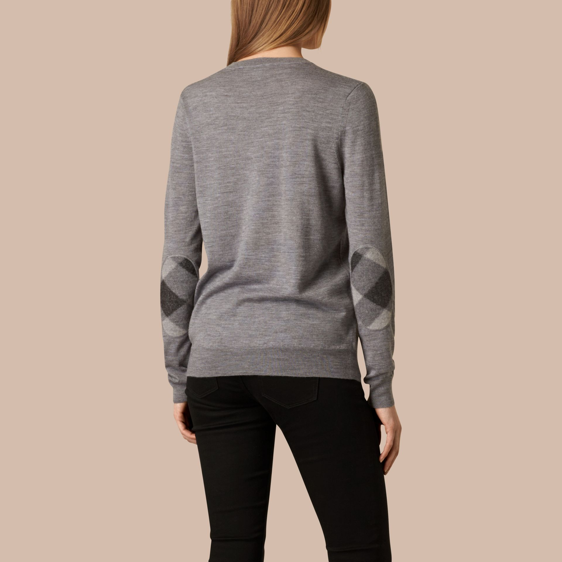 Check Detail Merino Wool Crew Neck Sweater in Mid Grey Melange - gallery image 3