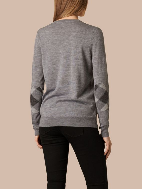 Check Detail Merino Wool Crew Neck Sweater in Mid Grey Melange - Women | Burberry Hong Kong - cell image 2
