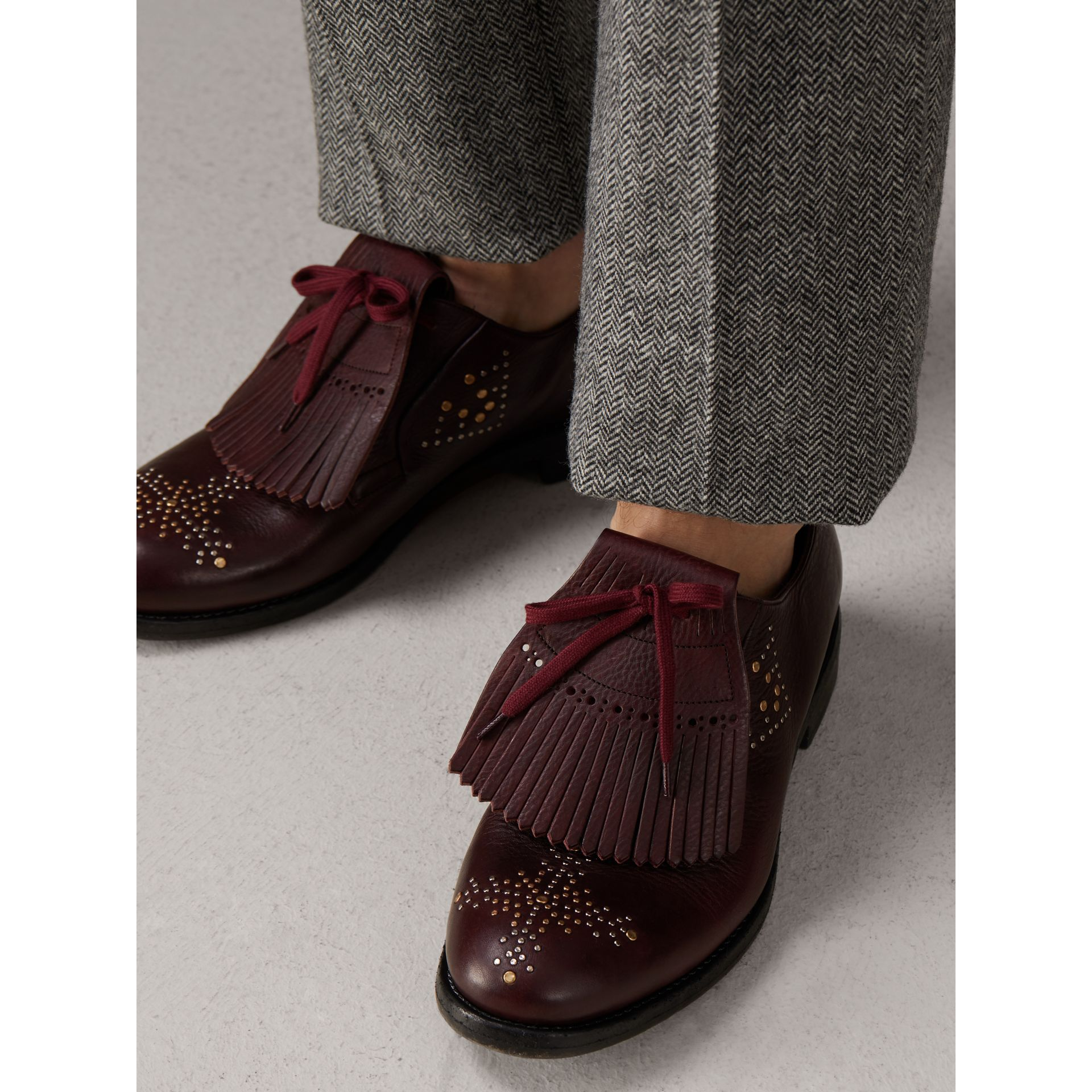 Lace-up Kiltie Fringe Riveted Leather Loafers in Cerise Purple - Men | Burberry United Kingdom - gallery image 2