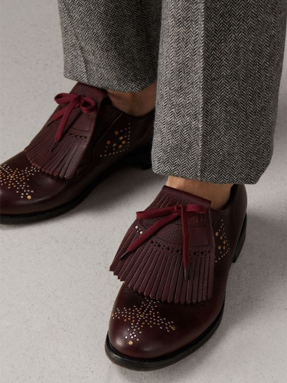 Lace-up Kiltie Fringe Riveted Leather Loafers in Cerise Purple - Men | Burberry United Kingdom - cell image 2