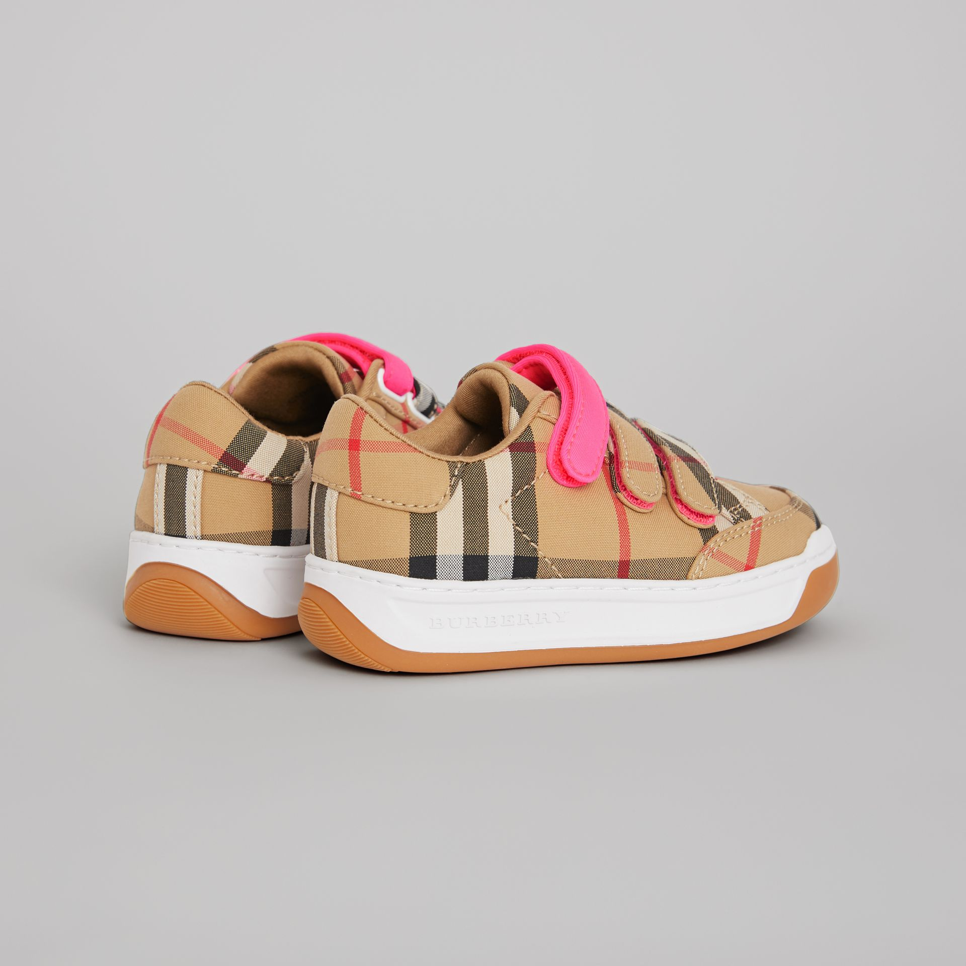 Vintage Check Sneakers in Antique Yellow/neon Pink - Children | Burberry Australia - gallery image 2
