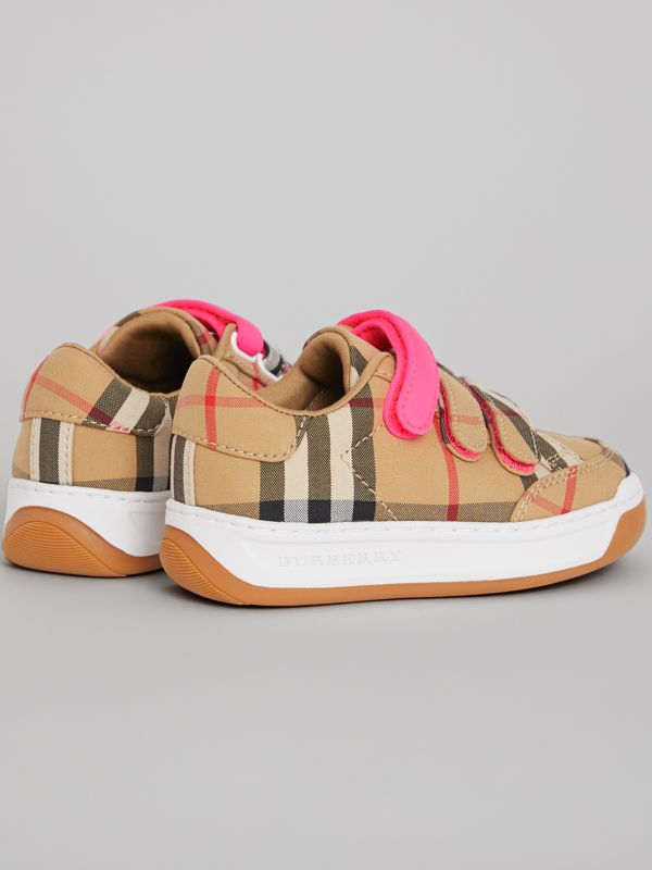 Vintage Check Sneakers in Antique Yellow/neon Pink - Children | Burberry Australia - cell image 2