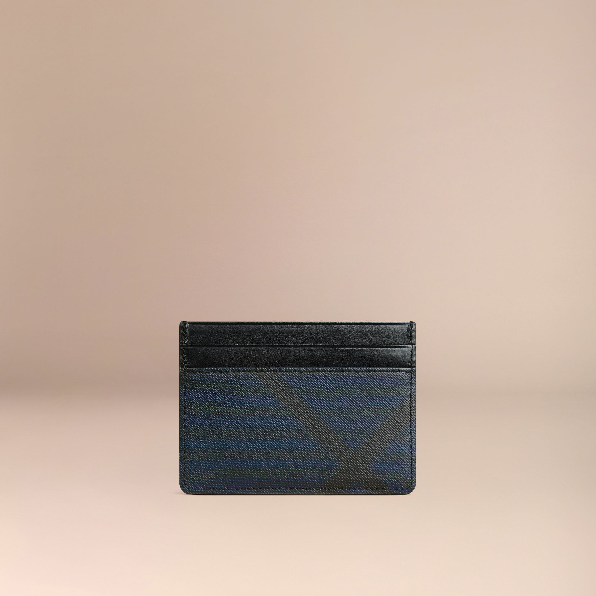 London Check Card Case in Navy/black - gallery image 3