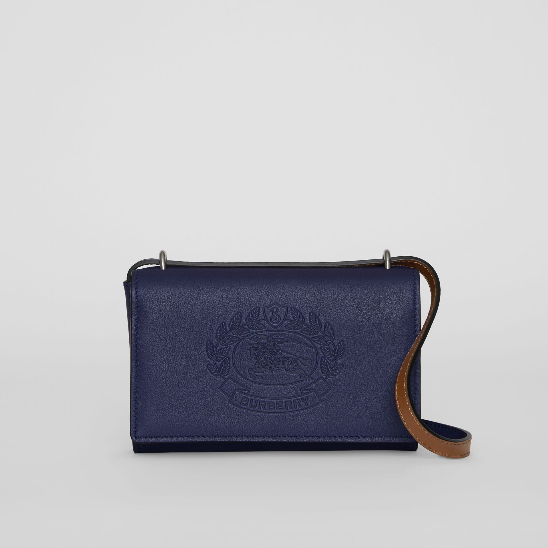 Embossed Crest Leather Wallet with Detachable Strap in Regency Blue - Women | Burberry - gallery image 0