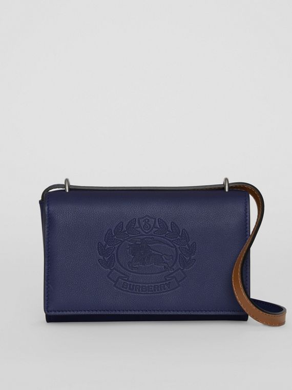 Embossed Crest Leather Wallet with Detachable Strap in Regency Blue
