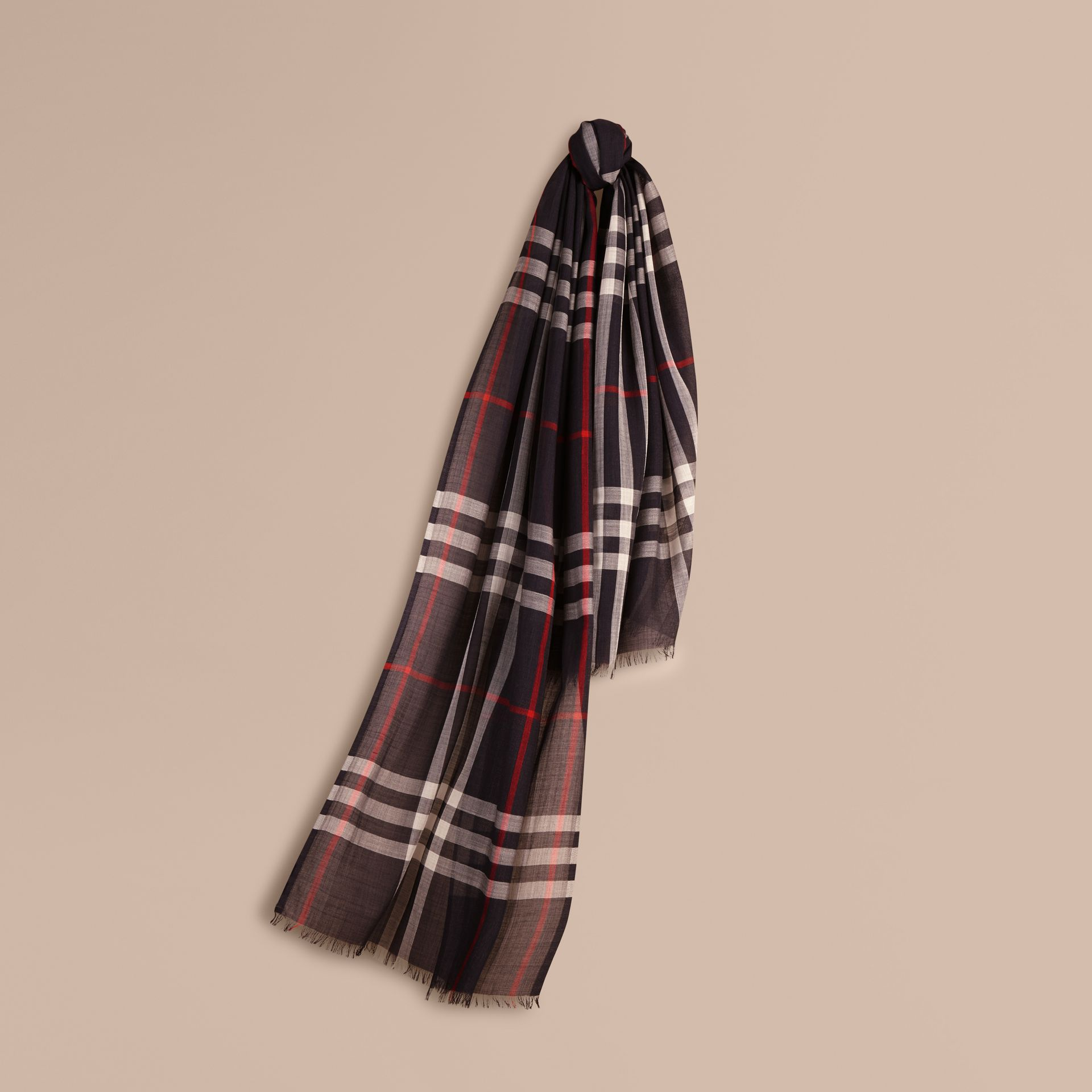 Lightweight Check Wool and Silk Scarf Navy - gallery image 1