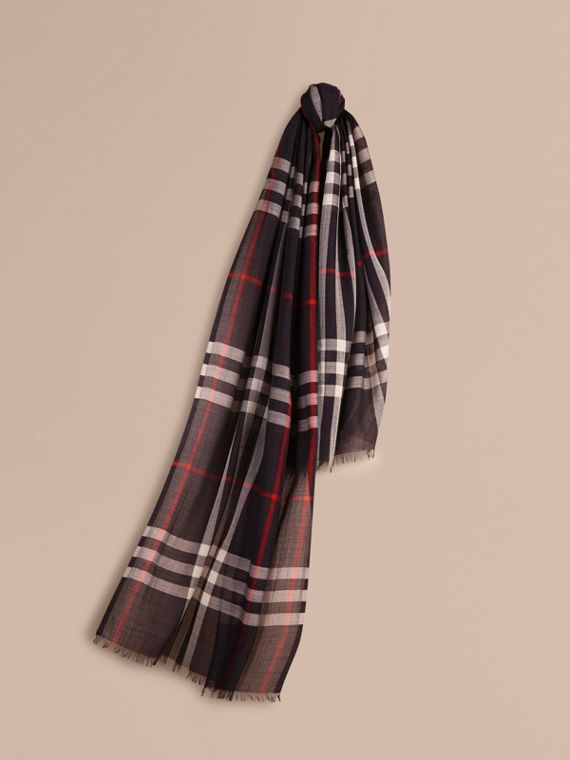 Lightweight Check Wool and Silk Scarf Navy