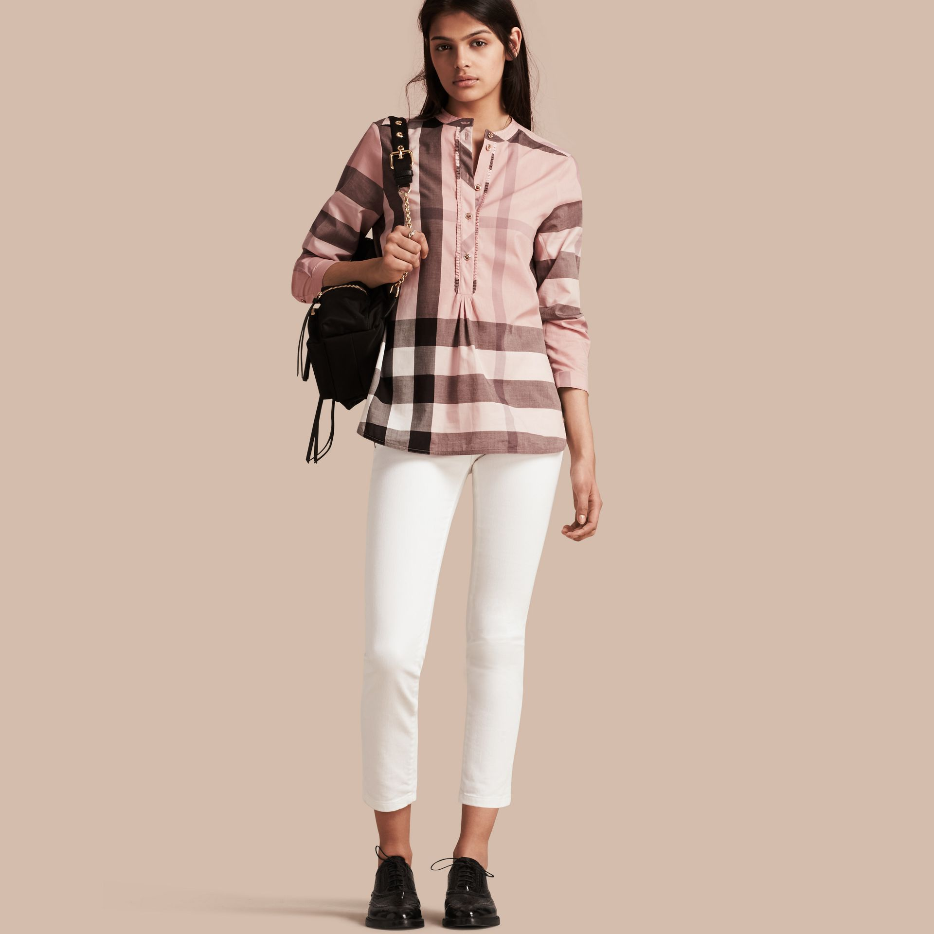 Check Grandad Collar Shirt in Antique Pink - Women | Burberry Singapore - gallery image 1