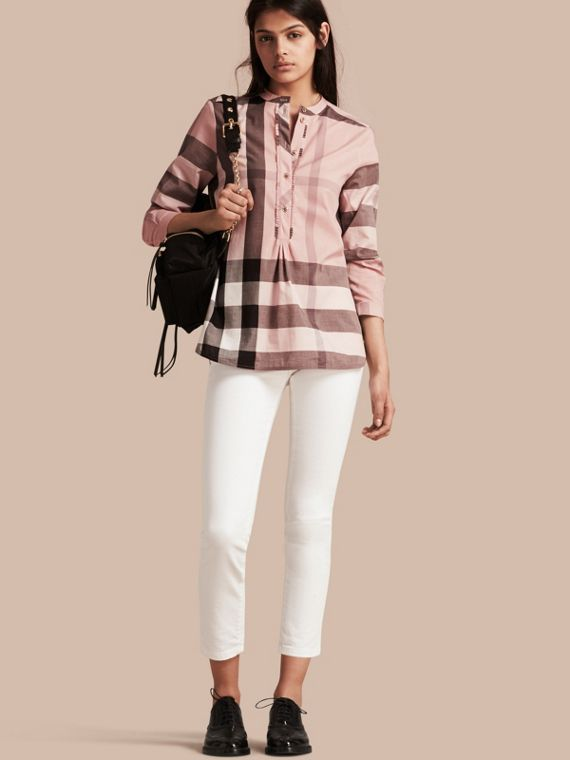 Check Grandad Collar Shirt Antique Pink