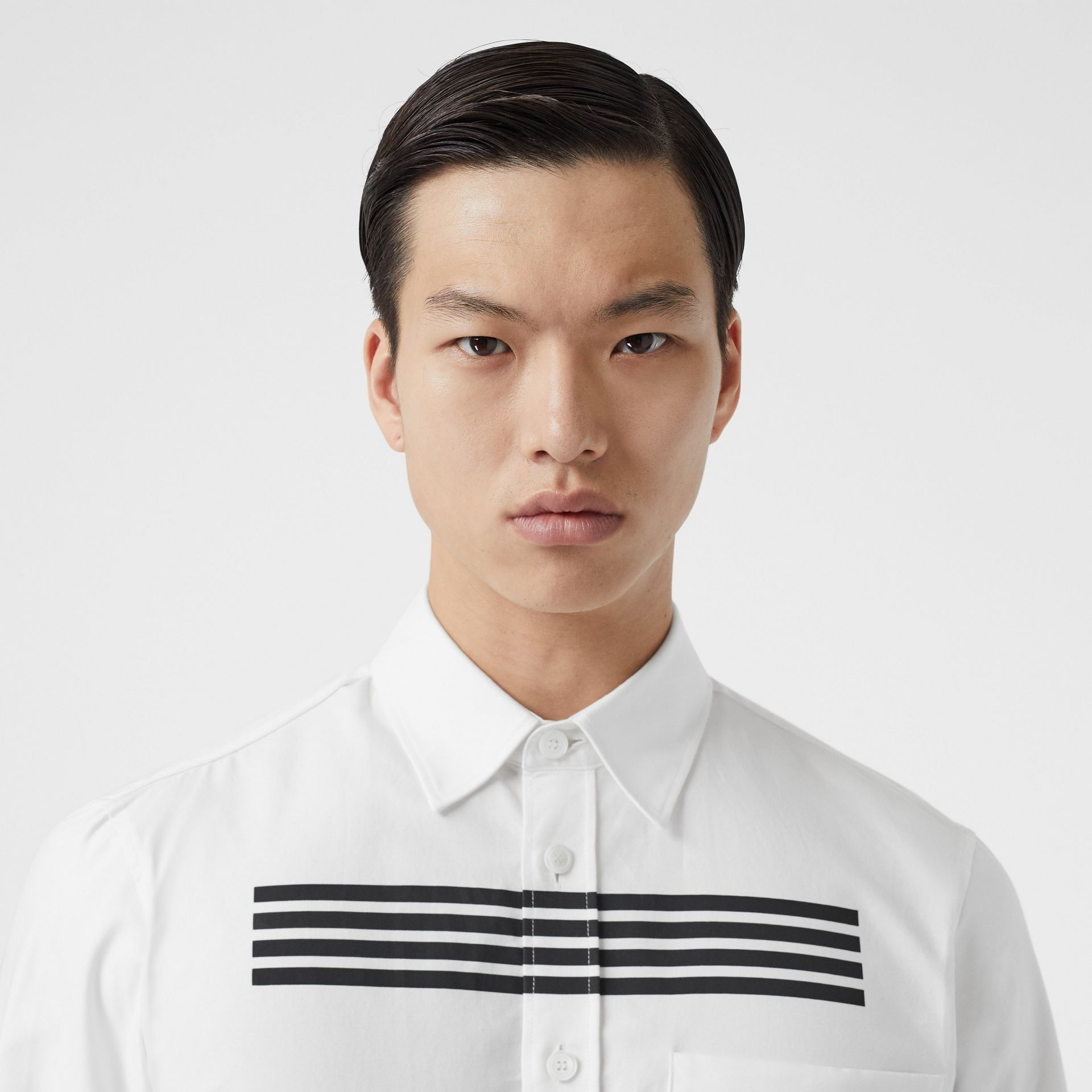 Stripe Print Cotton Oxford Shirt in White - Men | Burberry - gallery image 1