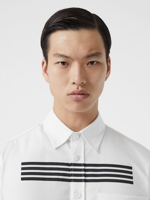 Stripe Print Cotton Oxford Shirt in White - Men | Burberry - cell image 1
