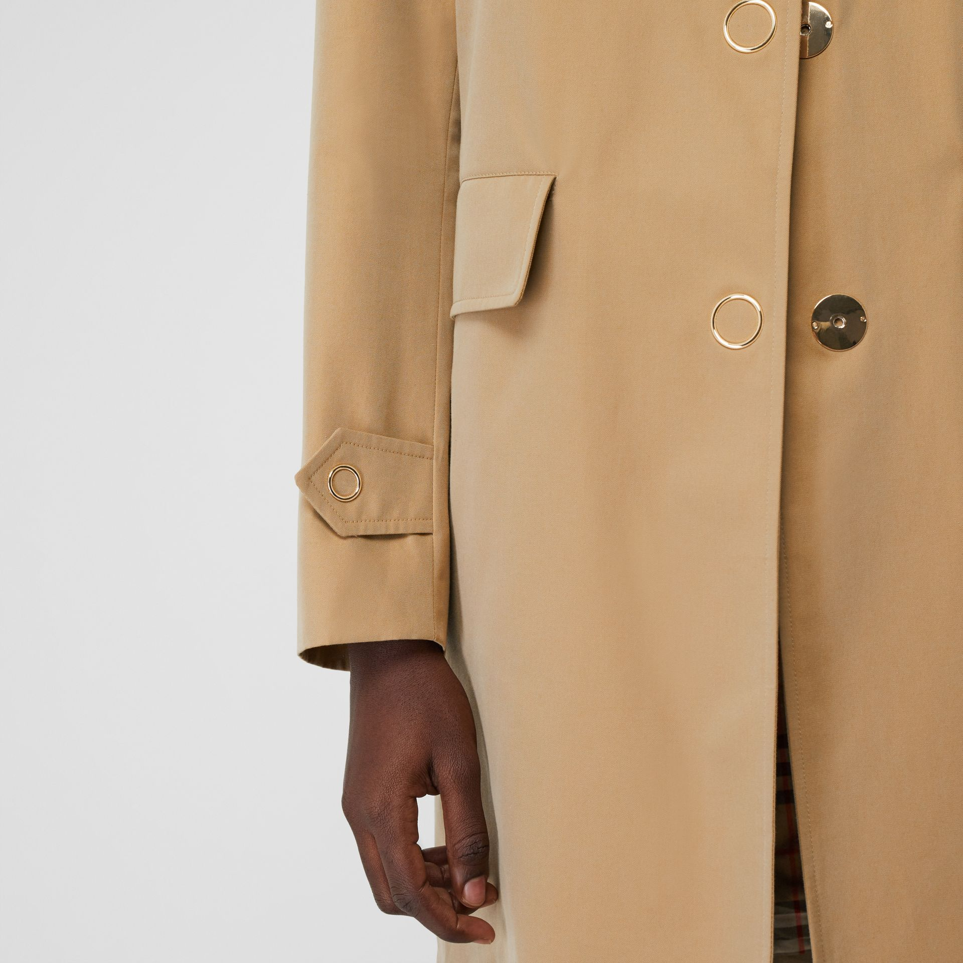 Press-stud Detail Cotton Gabardine Car Coat in Honey - Women | Burberry - gallery image 5
