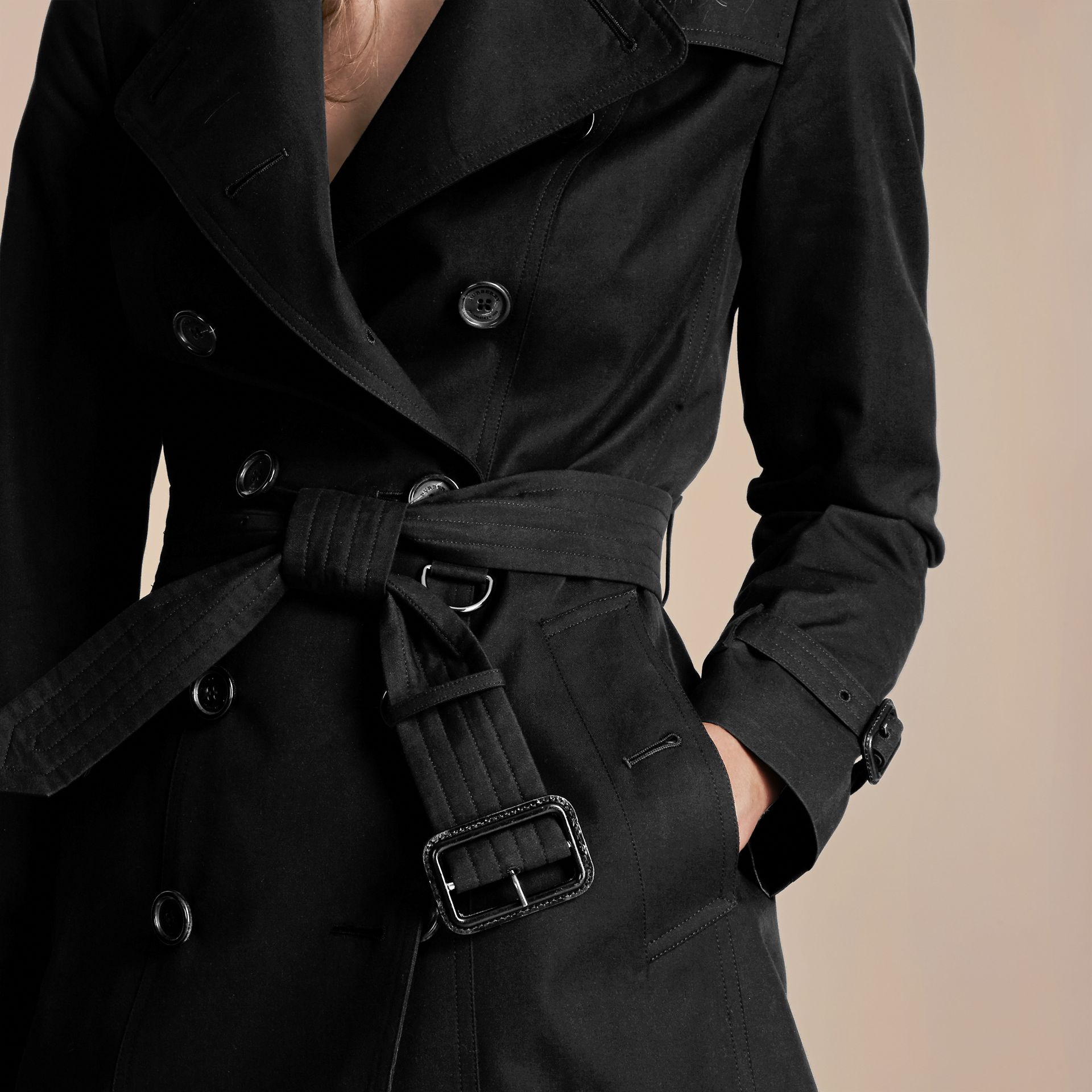 Black The Sandringham – Short Heritage Trench Coat Black - gallery image 6