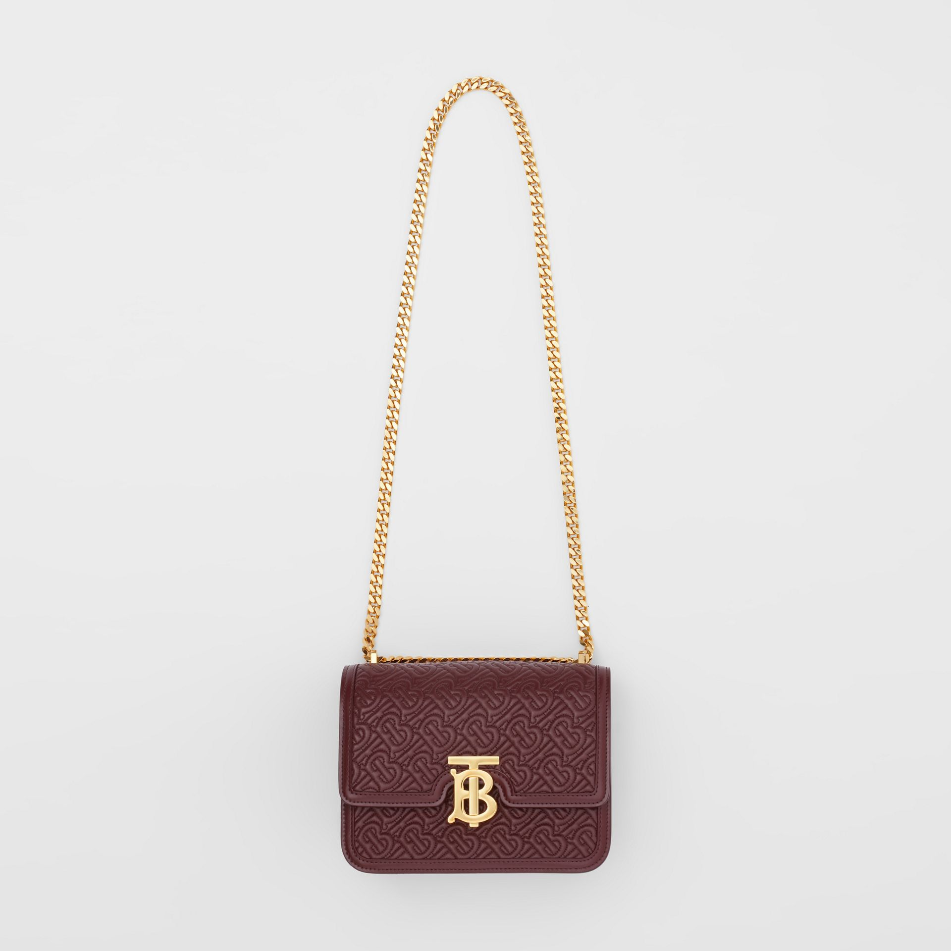 Small Quilted Monogram Lambskin TB Bag in Oxblood - Women | Burberry United Kingdom - gallery image 2