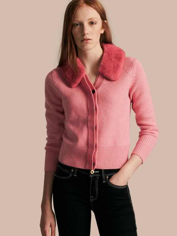 Cardigan in cashmere con collo in visone
